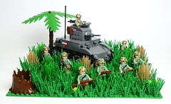 How @#$%ed Are We Now... (Florida Shoooter) Tags: usmc lego pacific jungle ww2 guadalcanal lighttank m2a4stuart