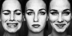 sad - neutral - happy [4] (laura zalenga) Tags: bw black white face university project emotions honest eyes gaze wrinkles girl woman ©laurazalenga emotionen verschieden verschiedene gesichtsausdrücke expressions facial selfportrait portrait closeup