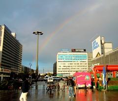 Regenbogen über Berlin am Alexanderplatz (Herby Crus) Tags: travel building berlin beautiful architecture germany eyes nikon europe alexanderplatz architektur sight sehenswürdigkeit gebaude
