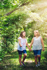 (Rebecca812) Tags: trees portrait sunlight nature childhood sisters forest canon walking children friend friendship sweet candid innocent fulllength happiness hike holdinghands tween idyllic sisterhood wellbeing canon5dmarkii rebecca812
