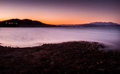 (picazam) Tags: longexposure las vegas sunset mountain lake nature water landscape fuji view nevada scenic nv lakemead mead distance bir silky divide azam  divisive picazam x100t