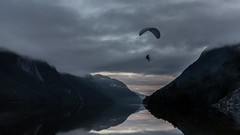 Paragliding over quiet water (Einar Angelsen) Tags: para gliding fjords norway rogaland ryfylket water mountains landscape paragliding