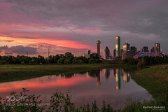 Fiery Sunset over Dallas (hammockbuddy) Tags: ifttt 500px sky landscape city sunset water reflection nature river travel architecture summer evening outdoors dusk texas dallas trinity