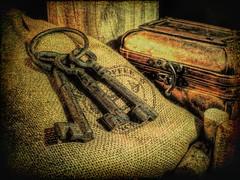 Keys to the Imagination (clarkcg photography) Tags: key keys box sack winecorks barrel wood keyring 7dwfcrazytuesdaythemekeys 7dwf crazytuesdaytheme burlap texture texturaltuesday