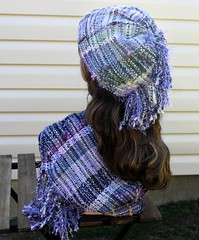 IMG_8940 (wovenflame) Tags: saori handwoven cowl hat lavender mixedwarp texture charlies an angel
