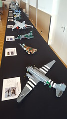 The complete display @ Bricktopia Brunssum 2016 (Kenneth-V) Tags: lego military moc scale model aircraft 136 display exhibition brunssum event dutchbricks bricktopia 2016 fighter planes plane bomber raven spirit mirage tornado complete tiger