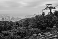 The city and cable cars. Kobe, Japan (andyn02) Tags: mountain hill city scenery landscape cable car ropeway port asia japan hyogo kobe blackandwhite monochrome