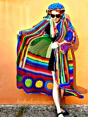 Kaleidocoat -  Multicolor Multimotif Striped And Hooded Hippie Crochet Coat (babukatorium) Tags: pink blue red orange flower color green art wool fashion yellow circle sweater rainbow colorful purple princess recycled handmade mosaic turquoise teal burgundy oneofakind coat crochet moda peach violet knit style mandala shades fairy shade blonde hexagon hood hippie patchwork psychedelic dreads filet rasta cardigan bohemian multicolor striped octagon whimsical extensions mintgreen haken icord hkeln emeraldgreen croch ganchillo babypink fuxia uncinetto yarnhair woolhair yarndreads  dreadextension tii horgolt uvgreen wooldread woolrovingdreads fakedread babukatorium