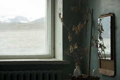 Abandoned room in Pyramiden (Kitty Terwolbeck) Tags: plant mountains abandoned window mirror flora village svalbard arctic dust spitsbergen pyramiden culturalcentre