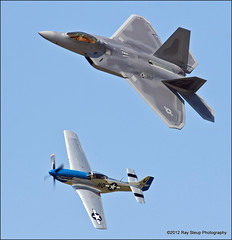 F-22 & P-51D at the 2012 Fort Wayne Air Show (rsteup) Tags: indiana airshow fortwaynein f22raptor canon60d fortwayneairshow 2012fortwayneairshow p51dmustangmoonbeammcswine