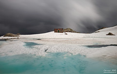 Alpine Scenery (orvaratli) Tags: lake snow france mountains cold june stormy hut alpine peaks chamonix lacblanc aiguillesrouges