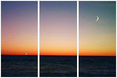 Sail Away. (Annemarie.) Tags: ocean blue sunset sea summer vacation sky orange moon holiday water sailboat evening boat triptych waves skies purple post edited grain wave sail grainy cloudless sailaway