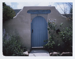 Blue gate (juli) Tags: house newmexico santafe polaroid fuji railyard intheneighborhood bluegate instantfilm peelapart fp100c automatic250