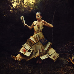 the research laboratory (brookeshaden) Tags: mystery fairytale forest reading woods whimsy surrealism books magnifyingglass research laboratory searching fineartphotography conceptualphotography broo