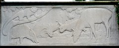 The Mowgli Bas Reliefs (1935) - PP-1F The Water Hole in the Jungle by Emil Siebern (1888-1942) - Prospect Park Zoo, Brooklyn, New York, Sep 2012 (ketrin1407) Tags: sculpture newyork statue brooklyn 1930s prospectpark limestone greatdepression basrelief rudyardkipling prospectparkzoo newdealart junglebooks howfearcame watertruce