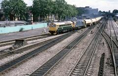 BR Class 33s 33008 & 33102, West Ealing (Crewcastrian) Tags: 33008 33102 westealing br class33 trains freighttrain 1986 transport railways locomotive diesel brcw gwr eastleigh