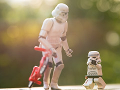 We're walking home (Kalexanderson) Tags: red stilllife trooper green bike toys photography starwars hands waiting play lego teddy bokeh stormtrooper emotions familylife realtions