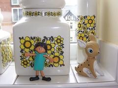 More kitchen window sill nonsense! (melody_gwen25) Tags: window kitchen vintage ceramic 60s doll sill storage deer daisy jar 70s bambi