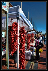 Hot Stuff! (Eddie Hales) Tags: blue red usa hot newmexico santafe market peppers