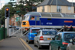 47 596 saunters across Norwich Road Level Crossing at Dereham (1331) Saturday 22nd September 2012 (Colin.P.Brooks Railway Photography & Frinton) Tags: spoon duff levelcrossing nse mnr dereham diesellocomotive class47 networksoutheast brushtype4 midnorfolkrailway 47292 class47goldenjubilee