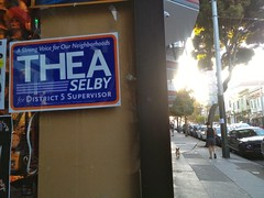 Thea Selby Poster on Haight St (Lynn Friedman) Tags: sanfrancisco candidate politics politician mother business activist progressive theaselby ccsf communitycollege board 2014 lynnfriedman thea selby campaign