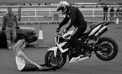 BRAKE.... (simongavin83) Tags: blackandwhite model motorbike triumph motorcycle brake stunt braking stuntshow stuntbike kevincarmichael nikond5100 ayrspectacular ecorz ecorzgirls