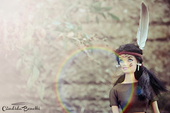 Barbie (cândidabenetti) Tags: summer nature leaves photoshop canon toy photography miniature doll native indian blueeyes feather barbie culture halo lensflare sunburst conceptual effect blackhair t3i 18135mm artistical rainbowhalo rebelt3i