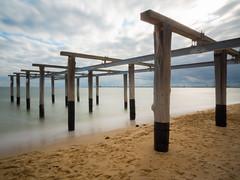 Support (malk271) Tags: longexposure sea bw beach landscape pier october waves australia melbourne olympus victoria portmelbourne albertpark 43 2012 portphillipbay mft 1250mm 10stop nd110 microfourthirds omdem5