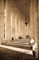 Strolling (smd3000) Tags: light italy vatican rome roma walking italia fuji fujifilm stpeterssquare pillars stroll piazzasanpietro vaticane saintpeterssquare x100