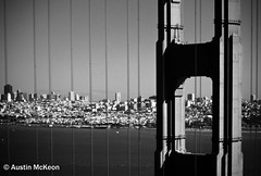 Golden Gate Bridge (Austin McKeon Photography) Tags: sanfrancisco bridge blackandwhite monochrome architecture landscape golden bay gate cityscape marin landmark goldengate headlands