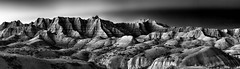 Badlands NP Sunset 9.2 (Jack Lefor) Tags: rugged erosion hills sunset monochrome landscape scenic nikon panorama panoramic nature badlandsnationalpark southdakota nikond810 blackandwhite fineart