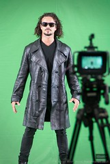 Lights...Camera....Action! (Nicky Highlander Photography) Tags: barbados animekon expo popculture convention caribbean culture cultural man leather black green screen standing movie filming camera post production jacket matrix sunglasses cool