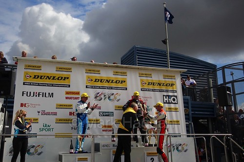 The podium for the first BTCC race at Rockingham 2016