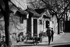 Beijing Hutong scene (Frhtau) Tags: beijing  lane alley chinese chinoise traditional hutong architecture architektur house china  peoples republic   life style daily street scene people tradition asia asian east buildings passers by culture bicycle habbitans leute leben chin city stadt old einfarbig landstrase outdoor gasse man woman basket child