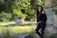 Nina (Denis Bence) Tags: outdoor attractive beautiful beauty belt black brown brunette cute environment eyes face female girl goodlooking grass green hair house human jeans lips model nature nice old people perfect person portrait ripped ruined ruins skin smile smiling wall well woman