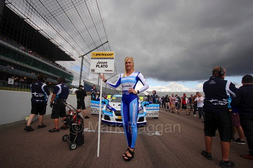 Jason Plato on the grid at Rockingham, August 2016