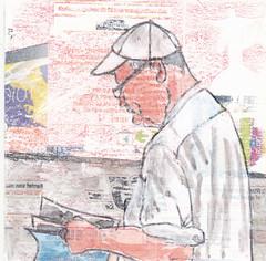 # 259 (15-09-2016) (h e r m a n) Tags: herman illustratie tekening bock oosterhout zwembad 10x10cm 3651tekenevent tegeltje drawing illustration karton carton cardboard man male lezer reader lezen read book boek