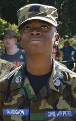 Young African-American man wearing Civil Air Patrol uniform looking up towards the sky, other CAP member behind him. (desrowVISUALS.com) Tags: march military 911 terrorism 91115thanniversary nineelevenanniversary nineeleven worldtradecenter twintowers terroristattack 911anniversary 911rememberance militaryparade militarymarch soldiersmarching militarymarching worldtradecenterattack