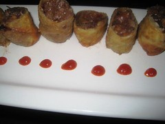 Oxtail spring roll with garbanzo beans and port