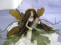 CUSTOM Fall woodland Fairy FOR ME (ShannyBannany) Tags: fall love woodland happy leaf doll dress display sweet handmade harvest sprite pixie greeneyes fairy creation fantasy handpainted corset custom decor twigs darling twine whimsical floss cheesecloth brownhair posedoll paintedface wiredoll