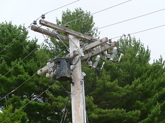 Trolley museum pole (en tee gee) Tags: old museum transformer trolley maine pole fuses riser 2400v