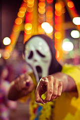 322/365. Ghostface. (Anant N S) Tags: nightphotography light portrait india beautiful photography 50mm hands dof mask bokeh fingers fair scream movies nikkor pointing pune scaryface ghostface mela giantwheel screammask artificiallights project365 nikond3000 indianfair lensor anantns thelensor ghostfacemask anantnathsharma