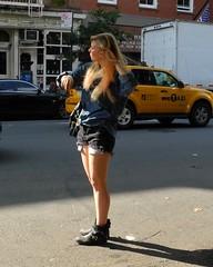 new york style (omoo) Tags: newyorkcity sunlight black girl beautiful boots taxi postoffice yellowcab westvillage streetscene blonde lightandshadow greenwichvillage newyorkstyle hudsonstreet hailingacab cutoffshorts brushinghair waitingforataxi dscn4784 526hudsonstreet beautifulblondehailingataxi