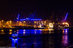 Blue Port Hamburg, 2012 (pengel122) Tags: blue blau fluss elbe nachtaufnahme blueport jahresalbum2012
