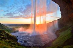 Sunset Curtain Call at Seljalandsfoss (David Shield Photography) Tags: travel sunset sky sun color nature water landscape waterfall iceland nikon europe atlantic seljalandsfoss davidshield bestcapturesaoi