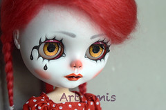 Sad Clown (Art_emis) Tags: new red white black eye art make up work carved doll little handmade clown carving chips special mohair blythe handpaint mold custom 201 weft rbl