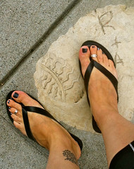 They say flip flops are bad for your feet (goofcitygoof) Tags: fab feet shoes tattoos flipflops kennethcole shoeprint