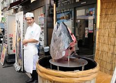An interesting way to entice people into a restaurant!, Tokyo (iancowe) Tags: fish japan sushi japanese restaurant tokyo market head chef tsukiji tuna 築地 東京都中央卸売市場