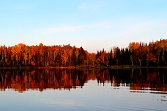 Loon Lake (ross064) Tags: trees sunset red sky orange lake fall water minnesota reflections outdoors dock loonlake