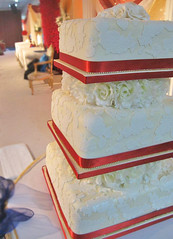 Red & Ivory Embossed Wedding Cake